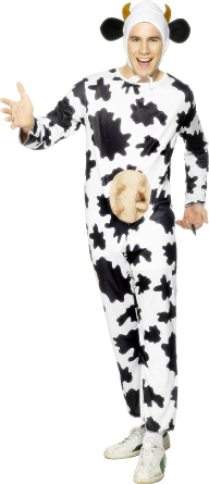 man in a cow suit