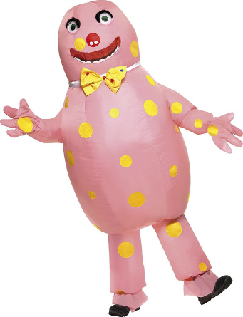 pink costume with yellow dots